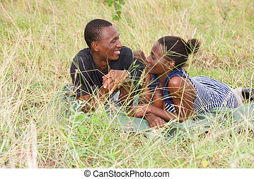 portrait of a young African couple, in love.