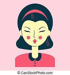 Portrait of a young Asian woman, avatar pink color, face narrow eyes, neat hairstyle, retro style clothes, vector illustration