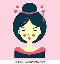 Portrait of a young asian woman in a geisha costume, avatar pink color, face with narrow eyes, geisha with a decoration in hair, vector illustration