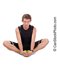 portrait of a young athlete exercising