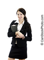 Portrait of a young attractive business woman with clipboard. Isolated on white.