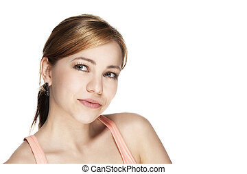 portrait of a young beautiful blonde woman looking to side on white background