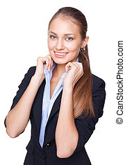 Portrait of a young beautiful business woman keeps the collar of her shirt isolated on white background