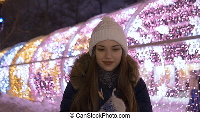 Portrait of a young beautiful girl. In the winter in the...