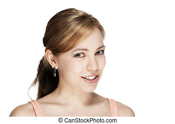 portrait of a young beautiful happy woman on white background