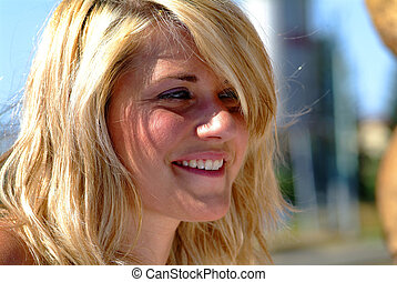 young blond women - portrait of a young blond women with...