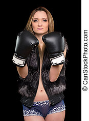 blonde in boxing gloves