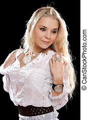 young blonde in white shirt