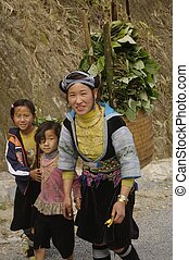 Portrait of a young blue Hmong woma - Blue Hmong girl...