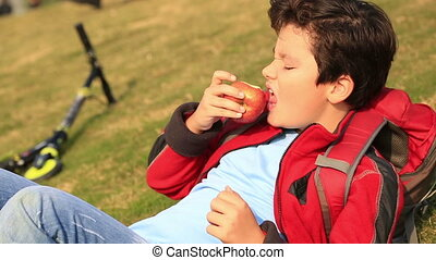 Portrait of a young boy eating red apple at the outdoor -...