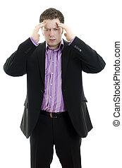 Portrait of a young business man looking depressed from work. Isolated over white background
