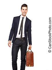 Portrait of a young business man smiling with bag