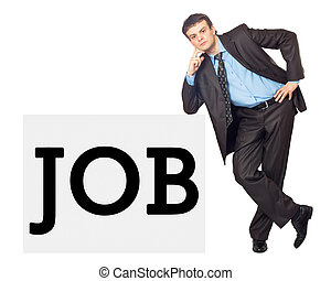 "Portrait of a young businessman with inscription ""JOB"""