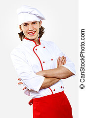 Portrait of a young cook in uniform