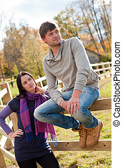 Portrait of a young couple in the countryside