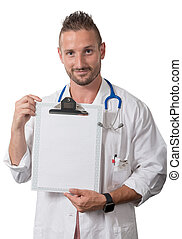 portrait of a young doctor showing clipboard on white