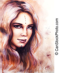 portrait of a young enchanting woman face with long wavy hair a
