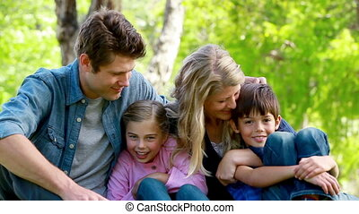 Portrait of a young family