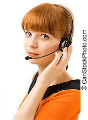 Portrait of a young female customer service operator on white background