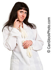 female doctor on a white background