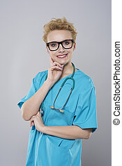 Portrait of a young female surgeon