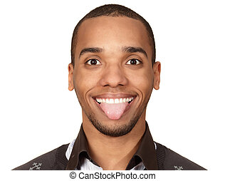 Portrait of a young funny african-american man isolated on white background