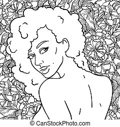 Portrait of a young girl with gorgeous curls