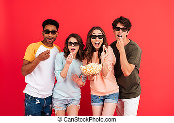 Portrait of a young happy group of multiracial friends