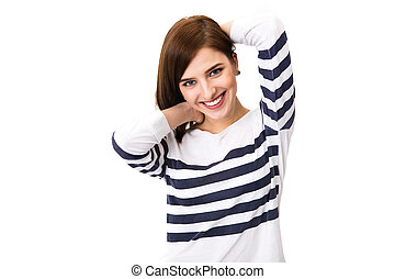 Portrait of a young happy woman isolated on a white background