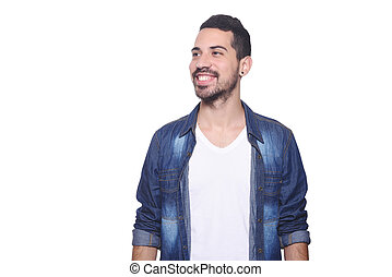 Portrait of a young latin man against white background.