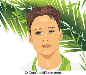 Portrait of a young man among palm branches. Vector...