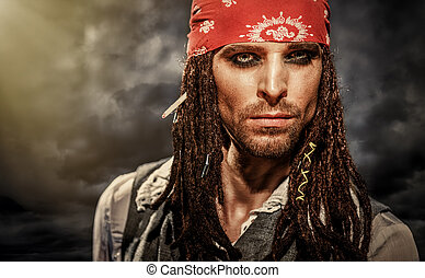 Actor in the image of Captain Jack Sparrow - Portrait of a...