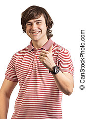 Portrait of a young man, thumbs up isolated on white