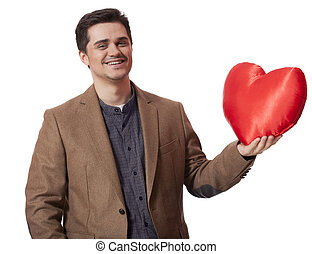 Portrait of a young man with heart shape
