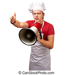 Portrait Of A Young Man With Megaphone