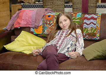 Portrait of a young preteenager in home