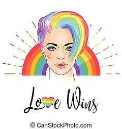Portrait of a young pretty woman with short pixie haircut. Rainbow colored hair. LGBT concept. Vector illustration isolated on white.