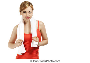 portrait of a young smiling fitness woman on white background