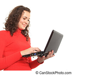 young smiling girl using a laptop