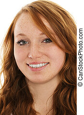 portrait of a young smiling redhead woman on white background