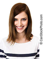 Portrait of a young smiling woman over white background