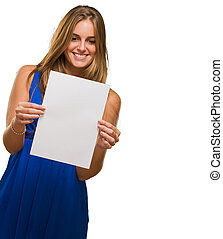 Portrait Of A Young Woman Holding Blank Paper