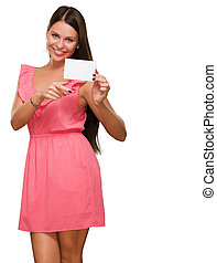 Portrait Of A Young Woman Holding Blank Card