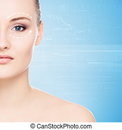 Portrait of a young woman in makeup