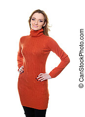 young woman in orange sweater