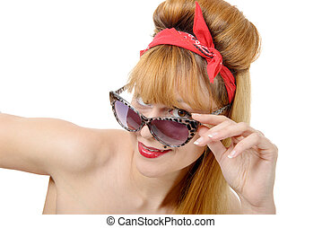 young woman in retro style with sunglasses