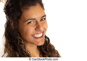 Portrait of a young woman looking at the camera. Profile, side view of african american girl. Isolated on white background.