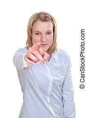 Portrait of a young woman pointing at you