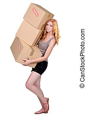 portrait of a young woman with boxes