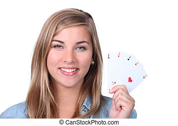 portrait of a young woman with cards